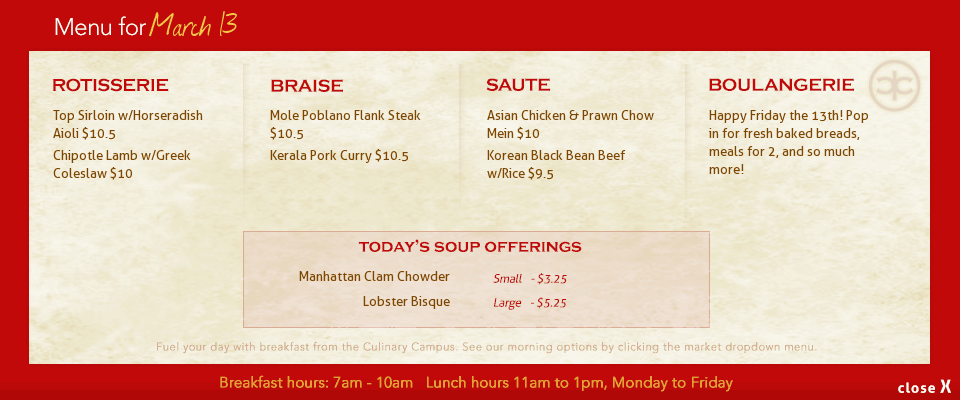 Come back tomorrow to see our fresh & hot daily menu offerings from our downtown Calgary grab and go marketplace
