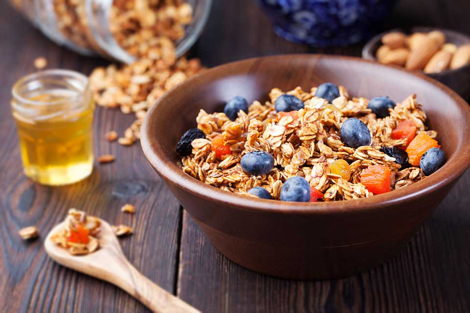 Savoury Granola ':' Eat the granola on its own or use it to dress up other healthy snacks like salad and yogurt.