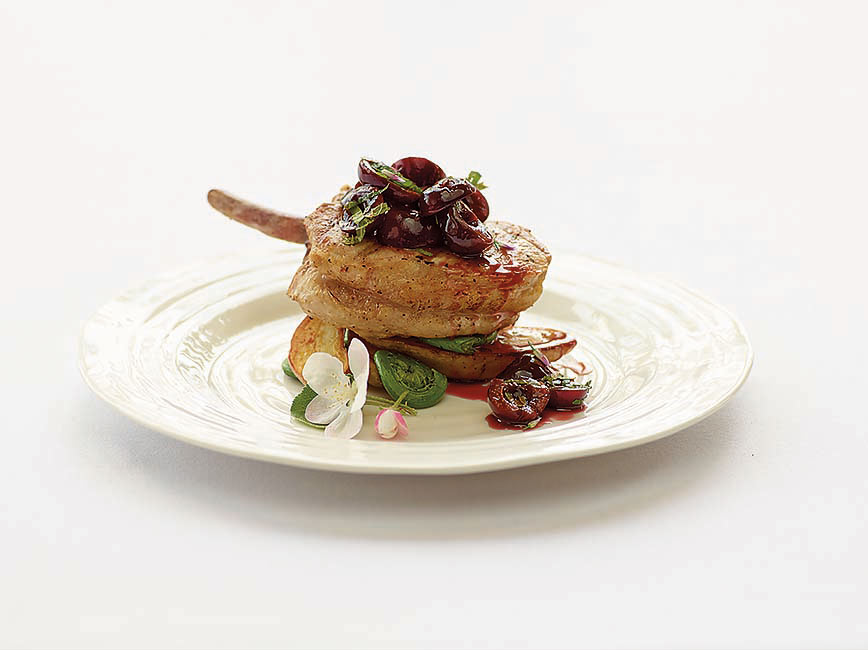 Grilled Pork Chop with Cherry Relish ':' Enjoy this sweet and sour flavoured grilled pork chop with cherry relish, taken from the SAIT 'Seasons' cookbook and brought to you by Chef Scott Pohorelic.